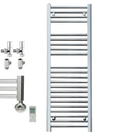 Straight Chrome Towel Rail Dual Fuel Thermostatic The Bray