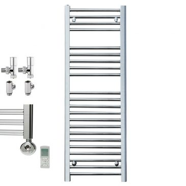 BRAY Straight Heated Towel Rail / Warmer, Chrome – Dual Fuel, Thermostat + Timer