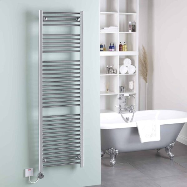 BRAY Straight Towel Warmer / Heated Towel Rail, Chrome - Electric, Thermostat + Timer