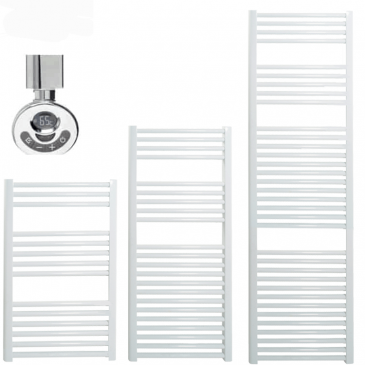 BRAY Straight Towel Warmer / Heated Towel Rail, White – Electric, Thermostat + Timer