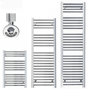 BRAY Straight Towel Warmer / Heated Towel Rail, Chrome – Electric, Thermostat + Timer