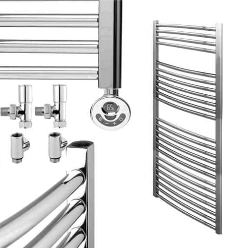 BRAY Curved Towel Warmer / Heated Towel Rail, Chrome - Dual Fuel, Thermostat + Timer
