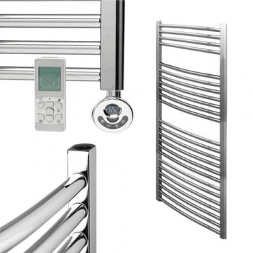 BRAY Curved Towel Warmer / Heated Towel Rail, Chrome – Electric, Thermostat + Timer