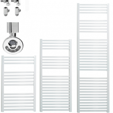 BRAY Straight Heated Towel Rail / Warmer, White – Dual Fuel, Thermostat + Timer