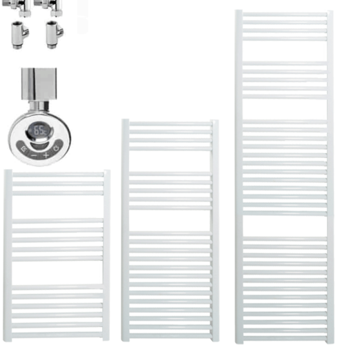 BRAY Straight Heated Towel Rail / Warmer, White - Dual Fuel, Thermostat + Timer