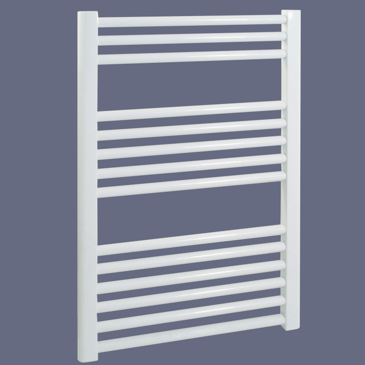 BRAY Straight Towel Warmer / Heated Towel Rail, White - Electric, Thermostat + Timer