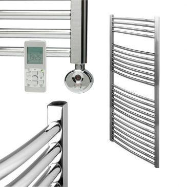 Chrome Remote Controlled Towel Rails – Thermostatic Electric – The Bray – Curved