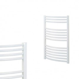 Curved White Central Heating Towel Rails - The Bray