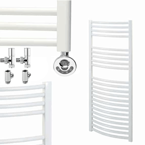 BRAY Curved Towel Warmer / Heated Towel Rail, White – Dual Fuel, Thermostat + Timer