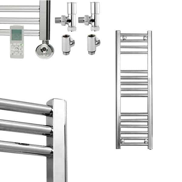 Straight Chrome Heated Towel Rail Electric Ptc The Bray: Straight Chrome Heated Towel Rail Dual Fuel Thermostatic