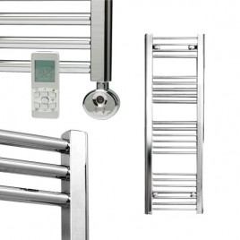 Straight Chrome Electric Towel Rails - Remote Controlled Thermostatic - The Bray