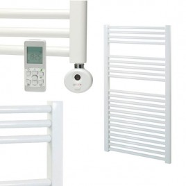 Straight White Electric Towel Rails – Remote Controlled Thermostatic – The Bray