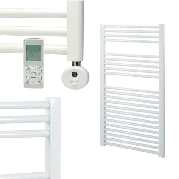 White Electric Towel Rails White Electric Bathroom Towel: BRAY Straight Towel Warmer / Heated Towel Rail, White