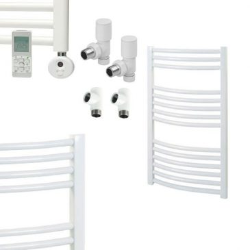 White Electric Dual Fuel Towel Rails – The Bray – Curved