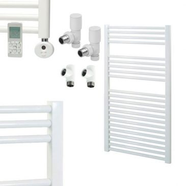 White Electric Towel Rails – Central Heating and Thermostatic – Bray – Straight Dual Fuel