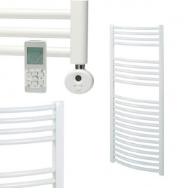 White Remote Controlled Electric Towel Rails - Thermostatic - The Bray - Curved