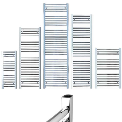 BRAY Straight Towel Warmer / Heated Towel Rail Radiator, Chrome - Central Heating
