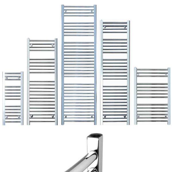 BRAY Straight Towel Warmer / Heated Towel Rail Radiator, Chrome - Central Heating