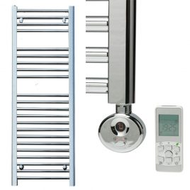 Electric Straight Chrome Thermostatic Towel Rail The Bray
