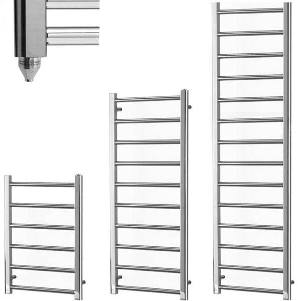 ALPINE Chrome Modern Towel Warmer / Heated Towel Rail Radiator - Electric