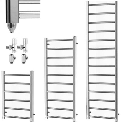 ALPINE Chrome Modern Towel Warmer / Heated Towel Rail - Dual Fuel, Electric