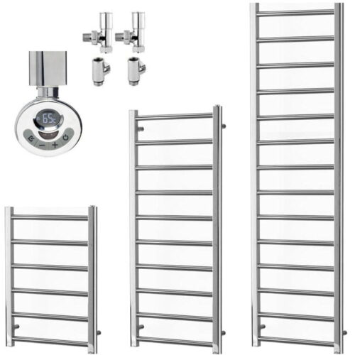 ALPINE Chrome Modern Towel Warmer / Heated Towel Rail - Dual Fuel, Electric