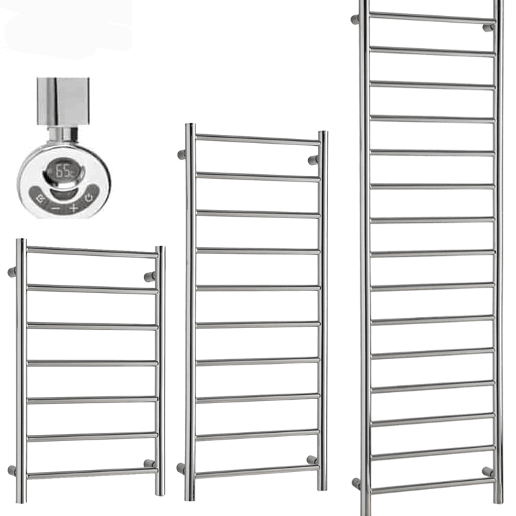 ALPINE Modern Heated Towel Rail / Warmer, Chrome – Electric, Thermostat + Timer