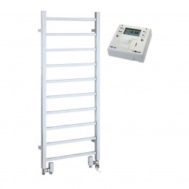 Square Tube Chrome Heated Towel Rail Dual Fuel Electric PTC - The Ballaugh with Fused Spur Timer