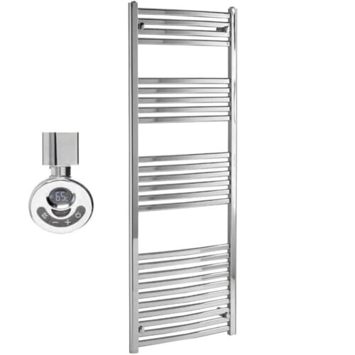 CROSBY Flat Tube Modern Heated Towel Rail, Chrome - Electric, Thermostat + Timer