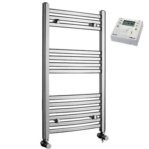 Crosby Curved Chrome Dual Fuel Electric PTC Heating Element Towel Rail with Fused Spur Timer 4