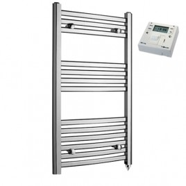 Crosby Curved Chrome Prefilled Electric PTC Heating Element Towel Rail with Fused Spur Timer 3