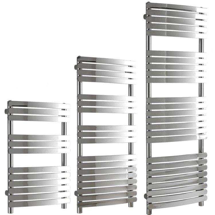GREEBA Flat Tube Modern Heated Towel Rail / Warmer, Chrome – Central Heating