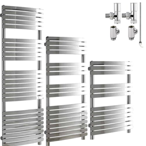 GREEBA Flat Tube Modern Heated Towel Rail / Warmer / Radiator, Chrome - Dual Fuel