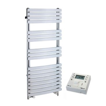 Greeba Modern Dual Fuel Heated Towel Rail Warmer Radiator, Curved Flat Panel Chrome + Fused Spur Timer