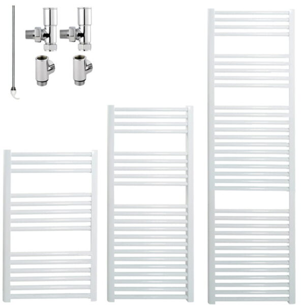 BRAY Straight or Flat Heated Towel Rail / Warmer, White - Dual Fuel, Electric
