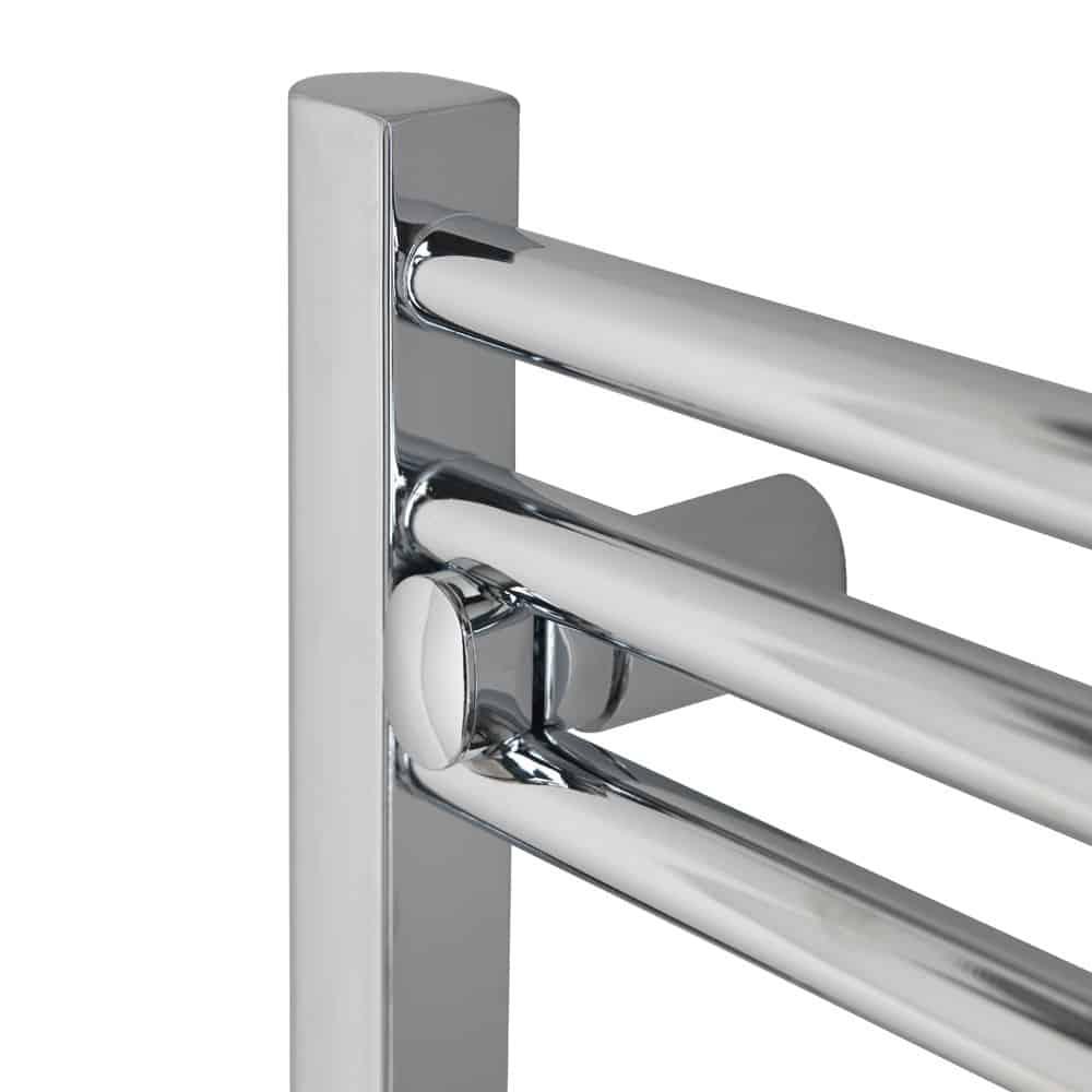 Tradesman straight chrome heated towel rail warmer - Electric bathroom radiators with timer ...