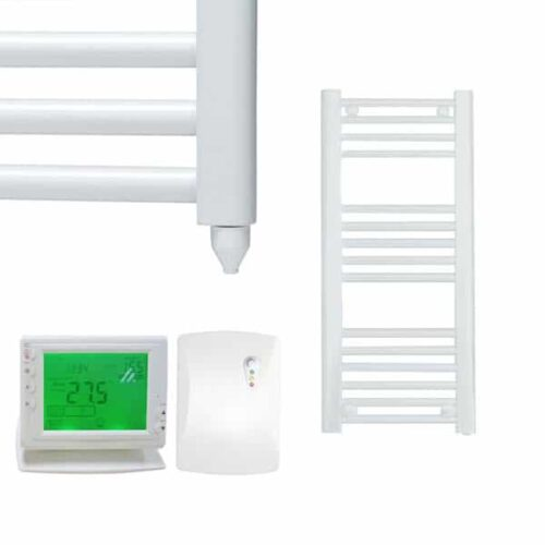 Straight White Electric PTC Towel Rails – Designer – The Bray – Wireless Timer & Thermostat 1