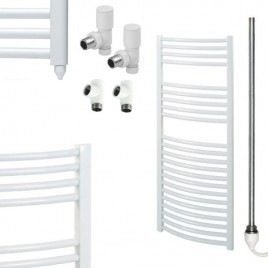 Curved White Towel Rails – Dual Fuel – Central Heating – Electric PTC – The Bray 1