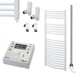 Curved White Heated Towel Rail Dual Fuel Electric Ptc With Fused Spur Timer The Bray