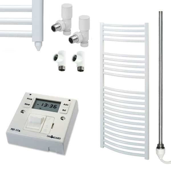 Curved White Towel Rails – Dual Fuel – Central Heating Electric PTC – The Bray – with Fused Spur Timer 1