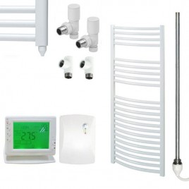 Curved White Heated Towel Rail Dual Fuel Electric Ptc With Wireless Timer The Bray