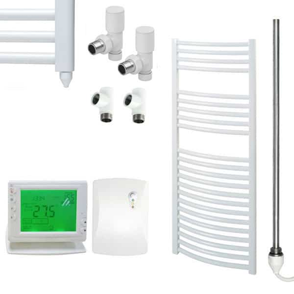 Curved White Towel Rails – Dual Fuel – Central Heating Electric PTC – The Bray – Wireless Timer & Thermostat 1
