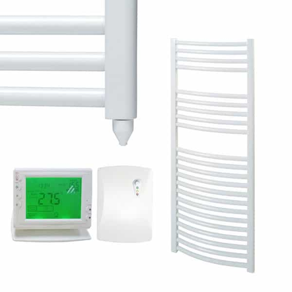 Curved White Electric PTC Towel Rails – The Bray – Wireless Timer & Thermostat 1