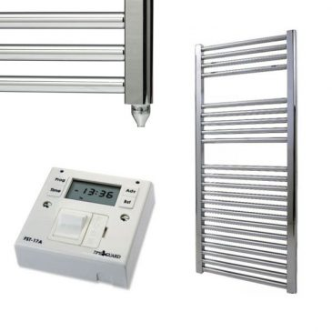 Straight Chrome Electric PTC Towel Rails – The Bray – with Fused Spur Timer 1