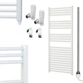Straight White Towel Rails – Dual Fuel – Central Heating and Electric 1