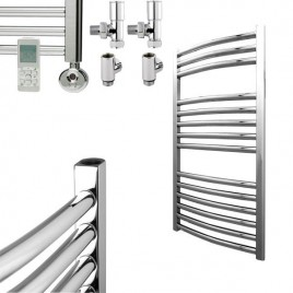 Curved Chrome Thermostatic Electric Towel Rail – Dual Fuel 1