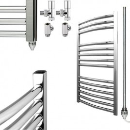Chrome Curved Towel Rails - Dual Fuel Central Heating and Electric PTC - The Bray