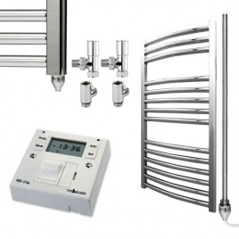 Curved Chrome Heated Towel Rail Dual Fuel Electric Ptc With Fused Spur Timer The Bray