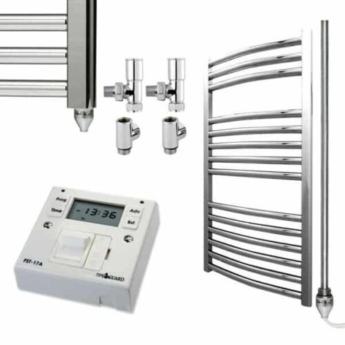 Chrome Curved Towel Rails – Dual Fuel Central Heating and Electric PTC – The Bray – with Fused Spur Timer 1