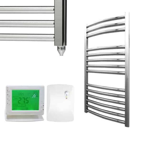 Curved Chrome Electric PTC Towel Rails – The Bray – Wireless Timer & Thermostat 1
